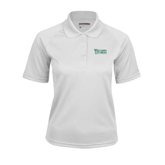 Ladies White Textured Saddle Shoulder Polo-Wisconsin Lutheran College Stacked