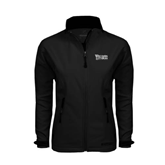 Ladies Black Softshell Jacket-Wisconsin Lutheran College Stacked