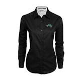 Ladies Black Twill Button Down Long Sleeve-WLC Diagonal w/ Sword