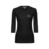 Ladies Black 3/4 Sleeve Scoop Neck-WLC Diagonal w/ Sword