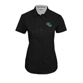 Ladies Black Twill Button Up Short Sleeve-WLC Diagonal