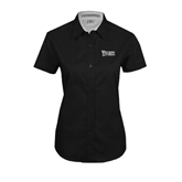 Ladies Black Twill Button Up Short Sleeve-Wisconsin Lutheran College Stacked