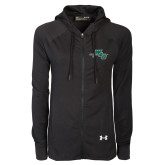 Ladies Under Armour Black Varsity Full Zip Hoodie-WLC Diagonal w/ Sword