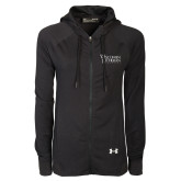 Ladies Under Armour Black Varsity Full Zip Hoodie-Wisconsin Lutheran College Stacked