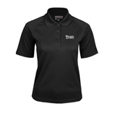 Ladies Black Textured Saddle Shoulder Polo-Wisconsin Lutheran College Stacked