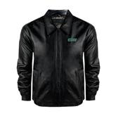 Black Leather Bomber Jacket-WLC