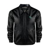 Black Leather Bomber Jacket-WLC Diagonal
