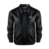Black Leather Bomber Jacket-WLC Diagonal w/ Sword