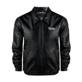 Black Leather Bomber Jacket-Wisconsin Lutheran College Stacked