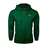 Dark Green Fleece Full Zip Hoodie-WLC Diagonal w/ Sword