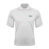 White Textured Saddle Shoulder Polo-Wisconsin Lutheran College Stacked