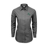 Ladies Grey Tonal Pattern Long Sleeve Shirt-WLC Diagonal w/ Sword