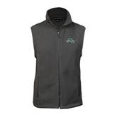 Fleece Full Zip Charcoal Vest-WLC Diagonal w/ Sword