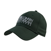 Dark Green Heavyweight Twill Pro Style Hat-Wisconsin Lutheran College Stacked