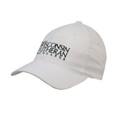 White OttoFlex Unstructured Low Profile Hat-Wisconsin Lutheran College Stacked