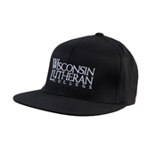 Black OttoFlex Flat Bill Pro Style Hat-Wisconsin Lutheran College Stacked