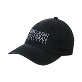 Black OttoFlex Unstructured Low Profile Hat-Wisconsin Lutheran College Stacked