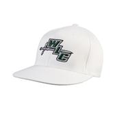 White OttoFlex Flat Bill Pro Style Hat-WLC Diagonal w/ Sword