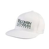 White OttoFlex Flat Bill Pro Style Hat-Wisconsin Lutheran College Stacked