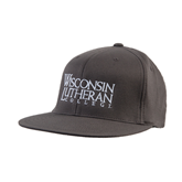 Charcoal Flexfit Flat Bill Pro Style Hat-Wisconsin Lutheran College Stacked