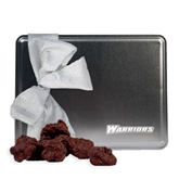 Decadent Chocolate Clusters Silver Large Tin-Warriors Engraved