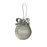 Silver Bulb Ornament-Wisconsin Lutheran College Stacked Engraved