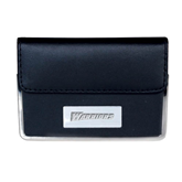 Leather Black Business Card Case-Warriors Engraved