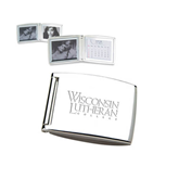 Silver Bifold Frame w/Calendar-Wisconsin Lutheran College Stacked Engraved