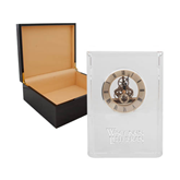 Grand Crystal Clock in Rosewood Box-Wisconsin Lutheran College Stacked Engraved