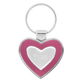 Silver/Pink Heart Key Holder-Wisconsin Lutheran College Stacked Engraved