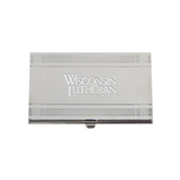 Crosshatch Silver Business Card Holder-Wisconsin Lutheran College Stacked Engraved