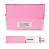 Business Card Case and Key Ring Set Pink-Wisconsin Lutheran College Stacked Engraved