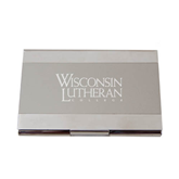 Dual Texture Silver Business Card Holder-Wisconsin Lutheran College Stacked Engraved