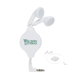 White Retractable Ear Buds-Wisconsin Lutheran College Stacked