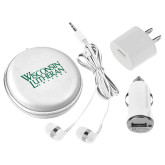 3 in 1 White Audio Travel Kit-Wisconsin Lutheran College Stacked
