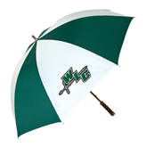 62 Inch Forest Green/White Umbrella-WLC Diagonal w/ Sword