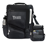 Momentum Black Computer Messenger Bag-Wisconsin Lutheran College Stacked