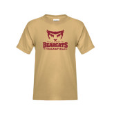 Youth Khaki Gold T Shirt-Track and Field