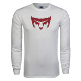 White Long Sleeve T Shirt-Bearcat Face