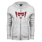 ENZA Ladies White Fleece Full Zip Hoodie-Bearcat Face
