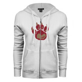 ENZA Ladies White Fleece Full Zip Hoodie-Paw