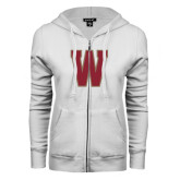 ENZA Ladies White Fleece Full Zip Hoodie-W