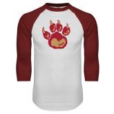 White/Cardinal Raglan Baseball T Shirt-Paw