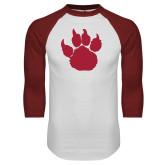 White/Cardinal Raglan Baseball T Shirt-Paw Silhouette