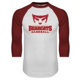 White/Cardinal Raglan Baseball T Shirt-Baseball