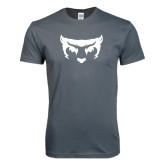 Next Level SoftStyle Charcoal T Shirt-Bearcat Face