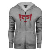 ENZA Ladies Grey Fleece Full Zip Hoodie-Bearcat Face