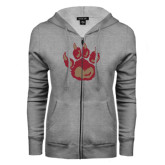 ENZA Ladies Grey Fleece Full Zip Hoodie-Paw