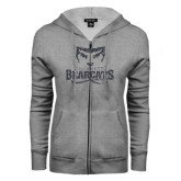 ENZA Ladies Grey Fleece Full Zip Hoodie-Primary Logo Graphite Soft Glitter