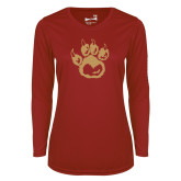 Ladies Syntrel Performance Cardinal Longsleeve Shirt-Paw